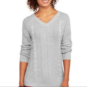 SWEATER v neck cable knit tunic